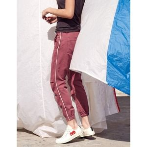 🆕SUNDRY Cotton Twill Zip Jogger in Hibiscu